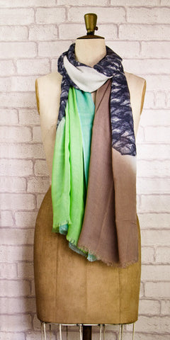 Veda Gorgeous Green Grey Scarf - Knot Only - 1