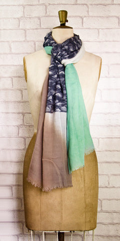Veda Gorgeous Green Grey Scarf - Knot Only - 2