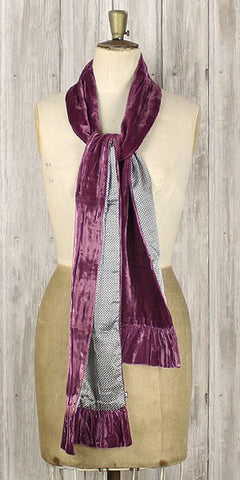 Earth squared silk velvet satin spot scarf plum - Knot Only - 1