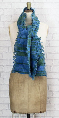 Essen.C Fringed Rib Scarf Blue & Green - Knot Only - 1