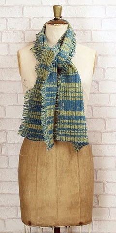 Essen.C Fringed Rib Scarf Blue & Ochre - Knot Only - 1