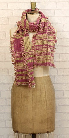 Essen.C Fringed Rib Scarf Pink & Ochre - Knot Only