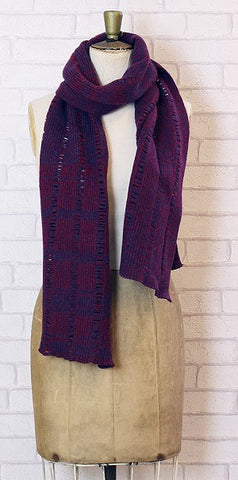Essen.C Ladder Scarf Claret & Navy - Knot Only - 1