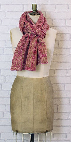 Essen.C Ladder Scarf Pink & Ochre - Knot Only - 1