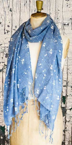 Glen Prince Floral Silk & Wool Scarf - Knot Only - 1