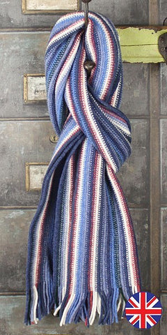 Glen Prince Warp Knit Lambswool Stripe Scarf Atoll - Knot Only - 1