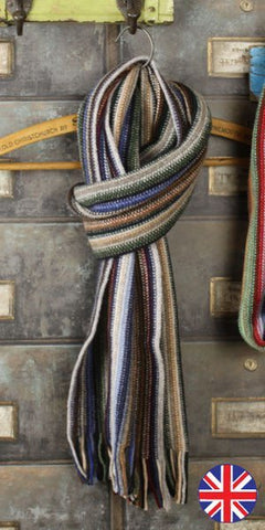 Glen Prince Warp Knit Lambswool Stripe Scarf cappucino - Knot Only - 1