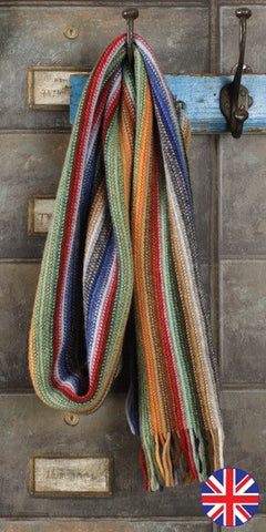 Glen Prince Warp Knit Lambswool Stripe Scarf Dell - Knot Only - 1