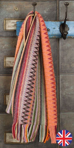Glen Prince Warp Knit Lambswool Zig Zag Scarf Coral - Knot Only - 1