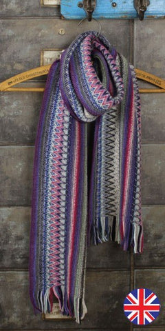 Glen Prince Warp Knit Lambswool Zig Zag Scarf Silver - Knot Only - 1