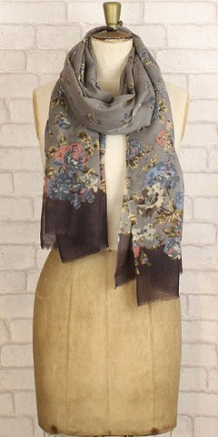 Jo Edwards Vintage Floral Wrap Grey - Knot Only - 1