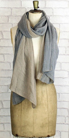 Powder Polly Two Tone Scarf Grey & Stone - Knot Only - 1