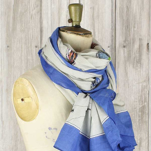 Shruti Birdsong Scarf Royal Blue - Knot Only - 2