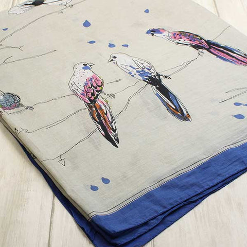 Shruti Birdsong Scarf Royal Blue - Knot Only - 3