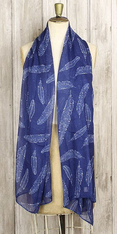 The Bufandary feather print scarf dark blue - Knot Only - 1