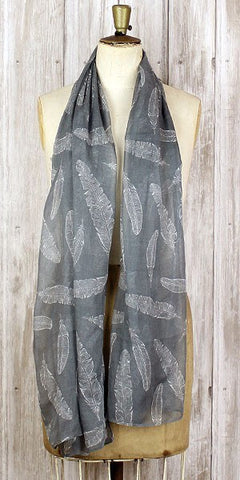 The Bufandary feather print scarf Grey - Knot Only - 1