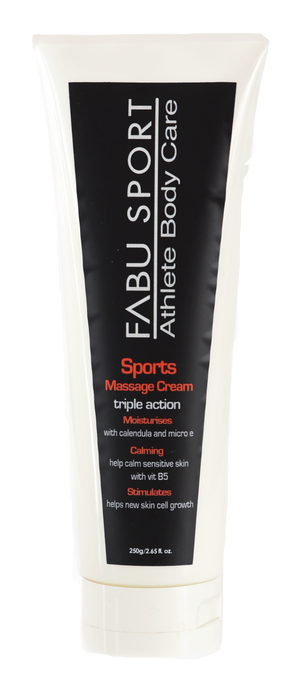 FABU SPORT SPORTS MASSAGE CREAM - MOISTURISES WITH CALENDULA & MICRO E,  CALMS WITH VITAMIN B5 - STIMULATES CELL RENEWEL