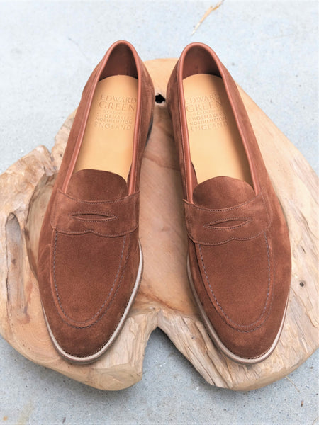Edward Green Ventnor Unlined Loafer in Snuff Suede