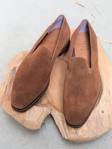 Carmina Shoemaker Wholecut Loafer in Snuff Suede