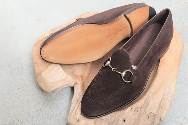 Carmina Shoemaker Horsebit Loafer in Chocolate Suede