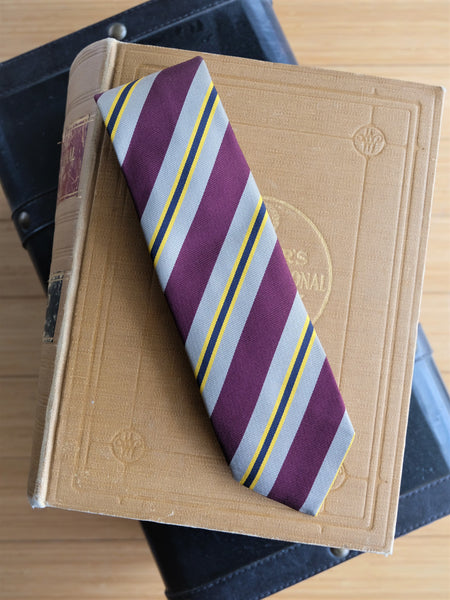 Drake's Burgundy and Khaki Striped Silk Repp Tie