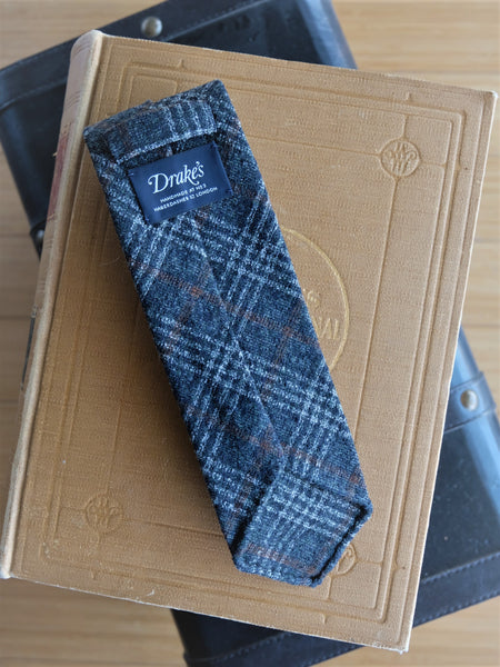 Drake's Olive/Grey Glen Check Cotton & Wool Tie - Untipped