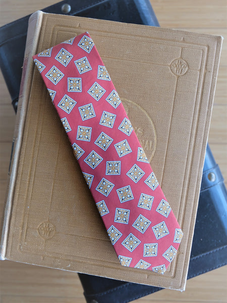 Drake's Red Tile Print Silk Tie