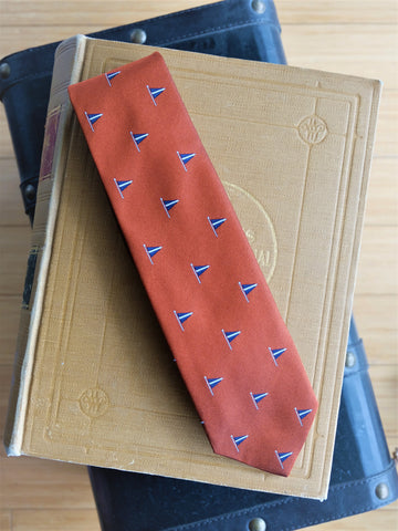 Drake's Orange Flag Motif Silk Repp Tie