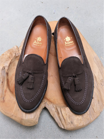 Alden Tassel Loafer in Dark Brown Suede
