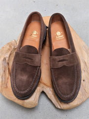 Alden Unlined Leisure Handsewn (LHS) Penny Loafer in Brown Suede