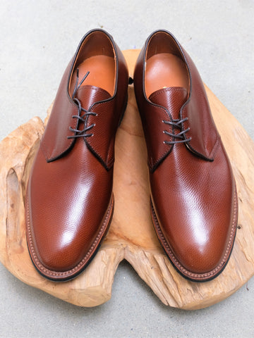 Alden Three Eyelet Blucher 'Dutton' in Brown Alpine Grain