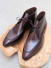 Carmina Shoemaker Split Toe Chukka in Demasquable Museum Burgundy Calf