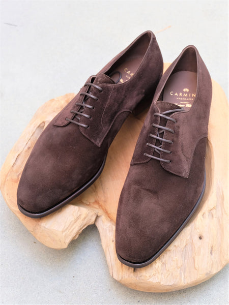 Carmina Shoemaker Plain Toe Derby in Chocolate Suede