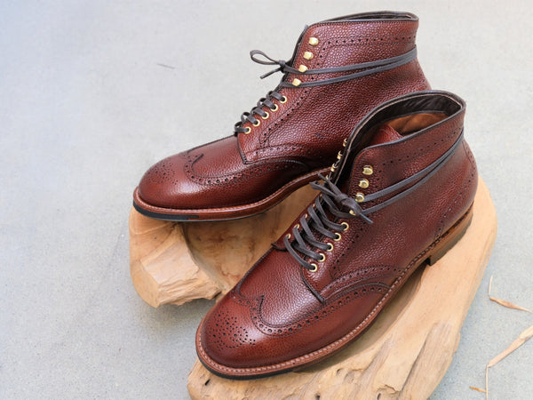 Alden Wingtip Boots in Brown Scotch Grain