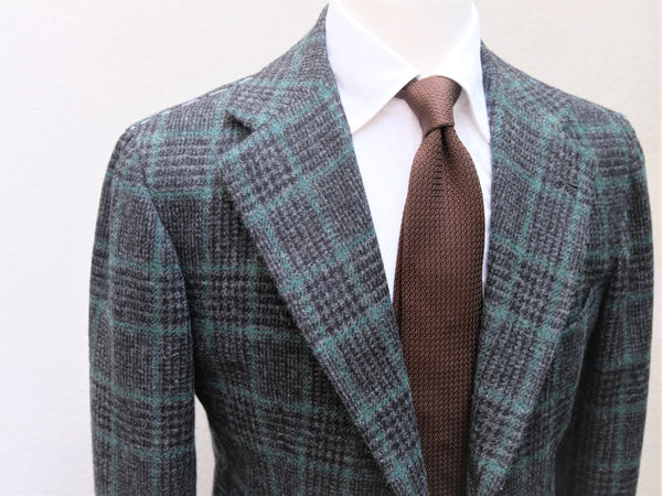 Orazio Luciano Jacket in Charcoal/Green Glen Plaid (Harris Tweed)