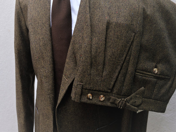 Orazio Luciano Suit in Olive Speckled Tweed