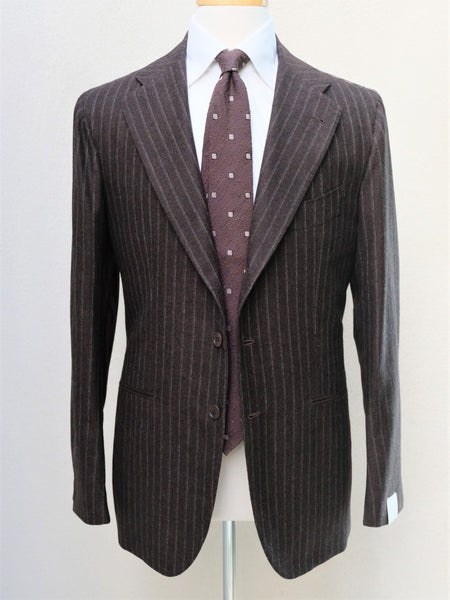 Orazio Luciano Suit in Brown Pinstripe Wool