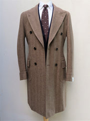Orazio Luciano Double Breasted Coat in Brown Herringbone