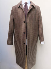 Orazio Luciano Raglan Coat in Brown Large Houndstooth