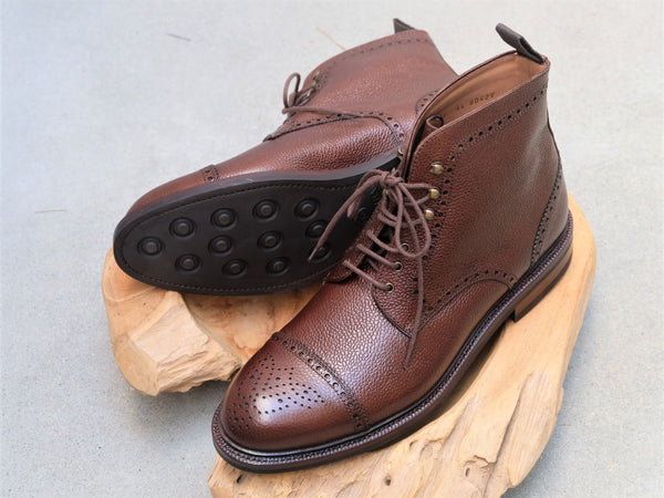 Carmina Shoemaker Semi Brogue Boots in Brown Scotchgrain