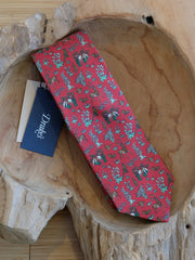 Drake's Red Woodlands Print Silk Tie