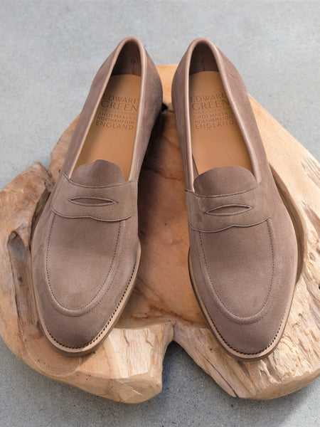 Edward Green Ventnor Unlined Penny Loafer in Mole Suede