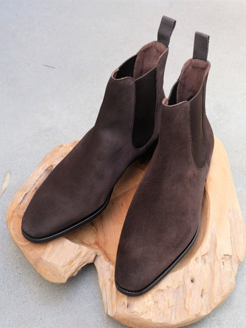 Carmina Shoemaker Chelsea Boots in Chocolate Suede