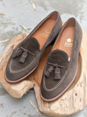 Alden Tassel Loafer in Loden Suede