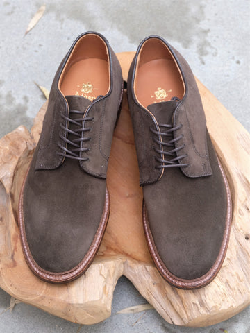 Alden Unlined Plain Toe Blucher 'Dover' in Loden Suede