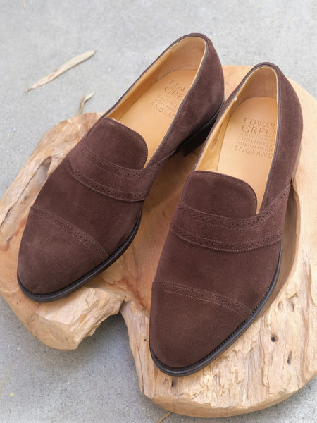 Edward Green Rochester Full Strap Loafer in Mink Suede