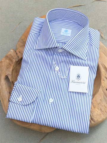 Vanacore Napoli Blue Stripe Dress Shirt
