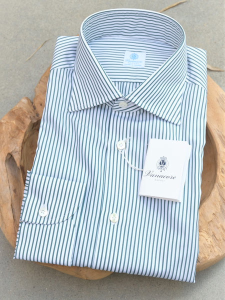 Vanacore Napoli Green Stripe Dress Shirt