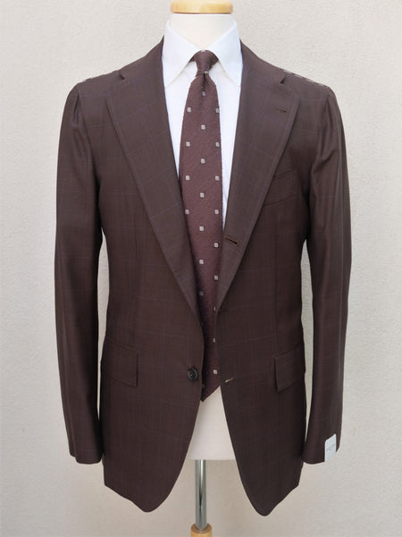 Orazio Luciano Suit in Brown Glen Check & Blue Windowpane (Ariston Napoli)