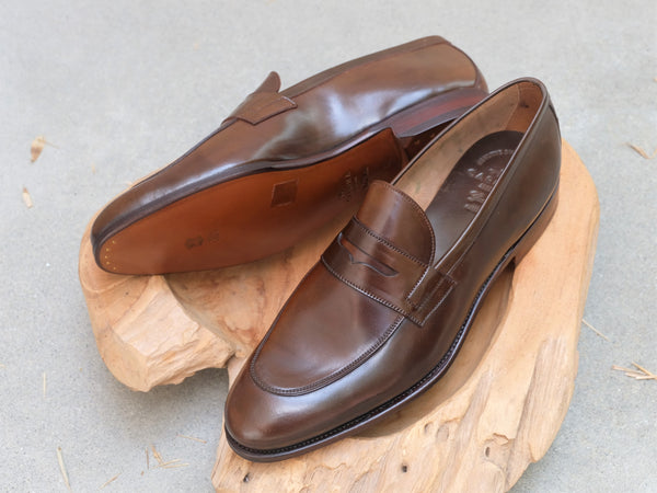 Carmina Shoemaker Unlined Penny Loafer in Armagnac Shell Cordovan
